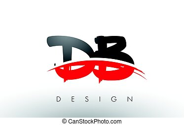 DB D B Brush Logo Letters with Red and Black Swoosh Brush...