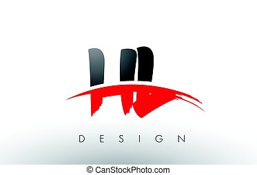 HL H L Brush Logo Letters with Red and Black Swoosh Brush...