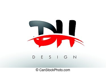 DH D H Brush Logo Letters with Red and Black Swoosh Brush...
