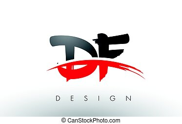 DF D F Brush Logo Letters with Red and Black Swoosh Brush...