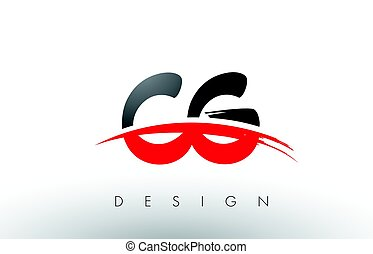 CG C G Brush Logo Letters with Red and Black Swoosh Brush...
