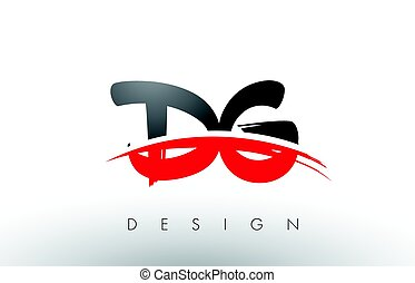 DG D G Brush Logo Letters with Red and Black Swoosh Brush...