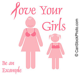 pink ribbon example - pink ribbon mother and daughter poster...