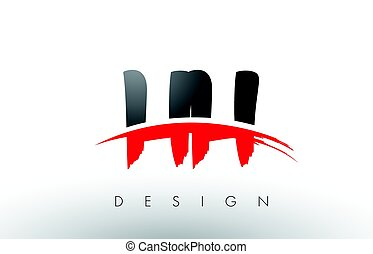 HH H H Brush Logo Letters with Red and Black Swoosh Brush...