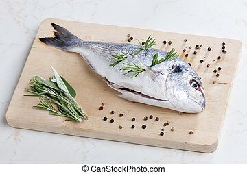 raw bream with herbs