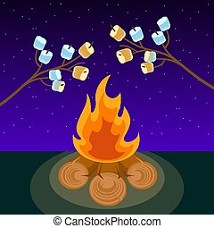 Marshmallow on skewers cooked on bonfire at night vector...