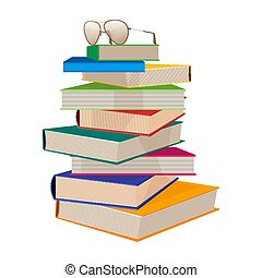 Pile of books with glasses on top vector illustration isolated