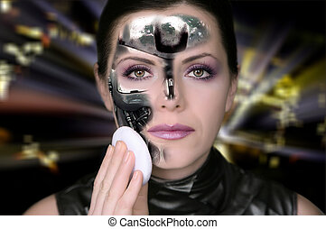 Bionic woman removing makeup from her face