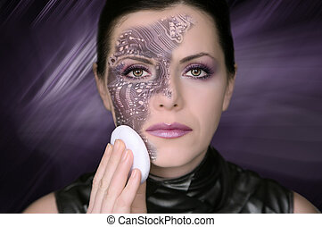 Cyber woman removing makeup from her face