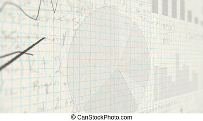 Line charts drawn on paper - Handwritten stock charts,...