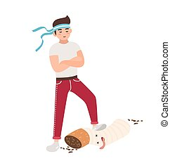 Concept of fight against smoking. Young guy tramples a...