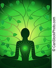 Meditation of man in a leaf background