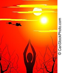 Meditation of man in sunrise