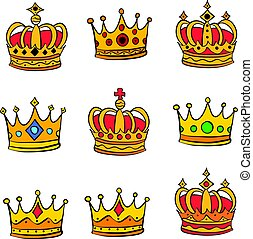 Collection stock red crown doodle set
