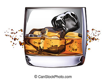 Whiskey Glass - 100 Adobe Illustrator photo realistic vector...