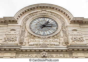 view of wall clock in D'Orsay Museum. D'Orsay - a museum on...