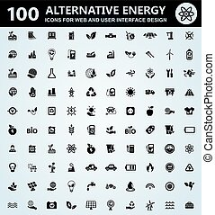 Alternative energy icons set - Alternative energy icons for...