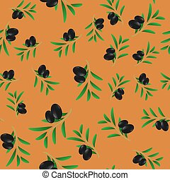 Black Olives Seamless Pattern - Black Olives Isolated on...