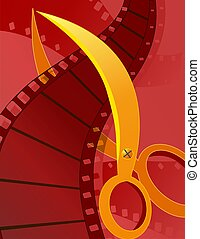 Scissors and film roll - Illustration of film reel cutting...