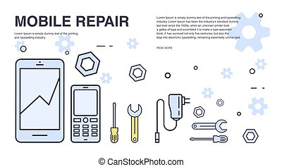 Concept of mobile phone repair. Horizontal banner with...