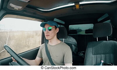 Man with Glasses Driving Car Full HD Footage
