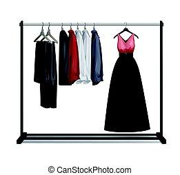 Vector clothes rack - Vector black metal, wood clothes rack...
