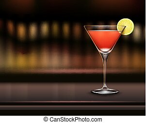 Glass of Cosmopolitan cocktail - Vector glass of...