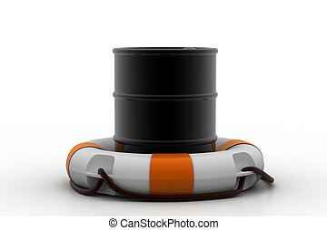 Oil barrel with life buoy