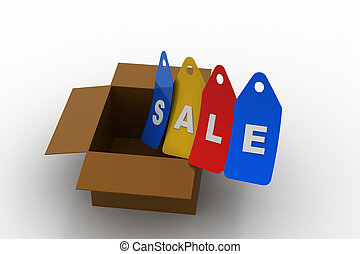 Sales tag with box