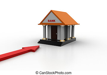 Bank building with arrow