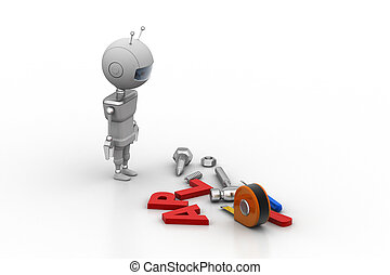 3d robot with equipments