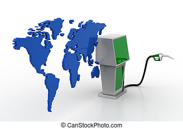 Bio fuel station with map