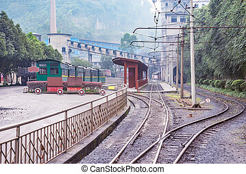 View of the Yuejin narrow-gauge railway station. Jiayang...