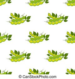 Seamless pattern of soybeans. Natural eco-friendly vegetarian nutrition. Flat style