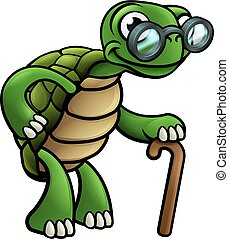 Elderly Tortoise Cartoon Character - An elderly senior...