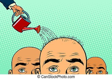Remedy for hair growth. bald man poured from a watering can....