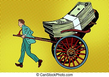 Businessman rickshaw transports money. Business and Finance....