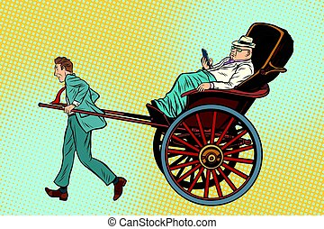 Businessman rickshaw carries a wealthy client