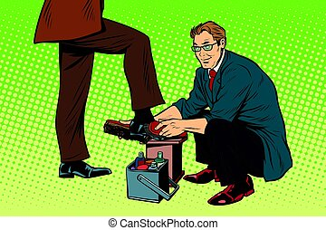 businessman Shoe Shiner. Pop art retro vector illustration