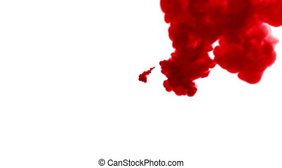 Close-up shot. Red tint creating abstract cloud formations in water and move in slow motion. Use for inky background or backdrop with smoke or ink effects, alpha channel is on use for it luma matte
