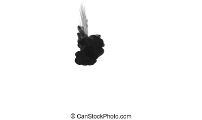 One ink flow, infusion black dye cloud or smoke, ink inject on white in slow motion. Black paint float in water. Inky background or smoke backdrop, for ink effects use luma matte like alpha mask
