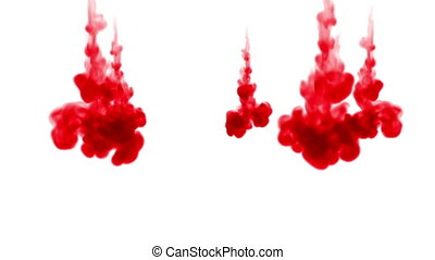 color creating abstract cloud formations in water and move in slow motion. Use for inky background or backdrop with smoke or ink effects, alpha channel is on use for it luma matte
