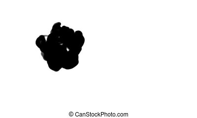 Black ink flow on white moving in slow motion, ink or smoke...