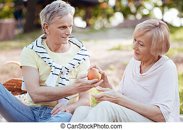 Caring elderly pensioners enjoying picnic outdoors -...