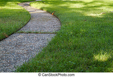 Curved path grass lawn low