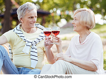 Smiling senior couple drinking wine in the park