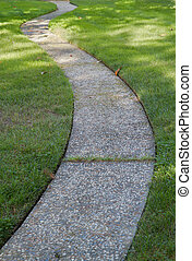 Curved path grass lawn
