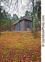 Old wooden building at Ethnographic open air village of...
