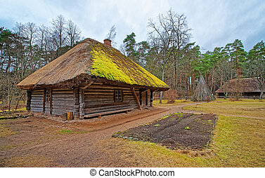 Old wooden house in Ethnographic open air village Riga - Old...