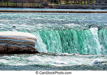 Splash of Niagara Falls viewed from the American side USA